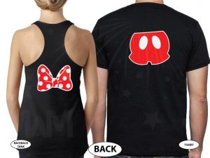 Mr and Mrs Cinderella Castle Mickey Head, #Anniversary, Minnie Mouse Cute Bow, Mickey Mouse Pants married with mickey black tee and tank