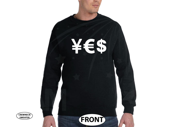 YES Money Signs Dollar Euro married with mickey black sweater