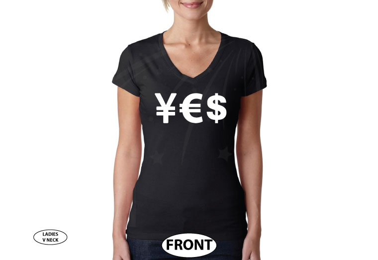 YES Money Signs Dollar Euro married with mickey black v neck tshirt