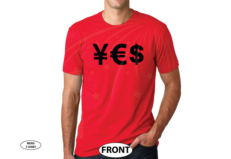 YES Money Signs Dollar Euro married with mickey red tshirt