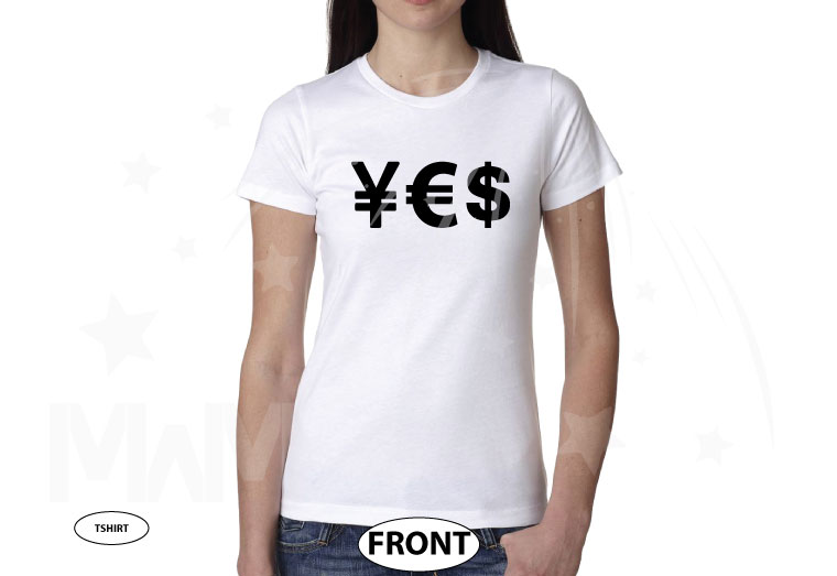 YES Money Signs Dollar Euro married with mickey white tshirt