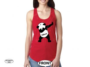 Dancing Panda with Name married with mickey red ladies tank top