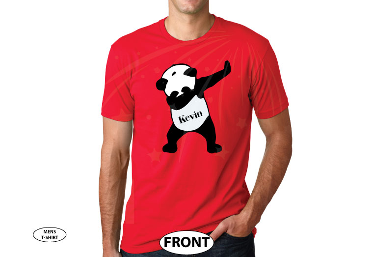 Dancing Panda with Name married with mickey red mens tshirt