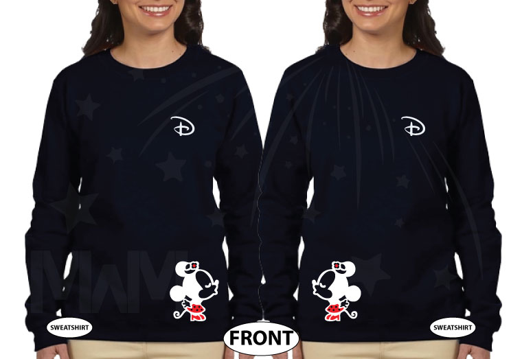 LGBT Lesbian Matching Shirts, Disney D, Hers and Hers, Kissing Minnie Mouse married with mickey the world's cutest matching couple black sweaters