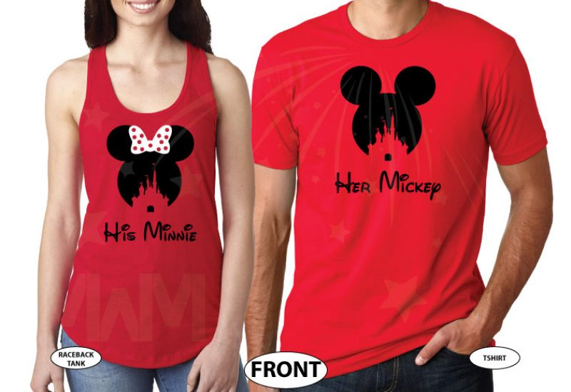 500125 His Mickey, Minnie Head With Polka Dots Cute Red Bow, Her Mickey, Mickey Head WIth Cinderella Castle married with mickey cutest matching couple red tee and tank