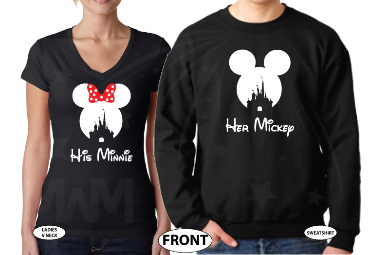 500125 His Mickey, Minnie Head With Polka Dots Cute Red Bow, Her Mickey, Mickey Head WIth Cinderella Castle married with mickey cutest matching couple black sweater and v neck t shirt