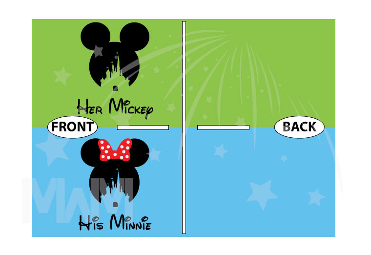 500125 His Mickey, Minnie Head With Polka Dots Cute Red Bow, Her Mickey, Mickey Head WIth Cinderella Castle married with mickey cutest matching couple shirts