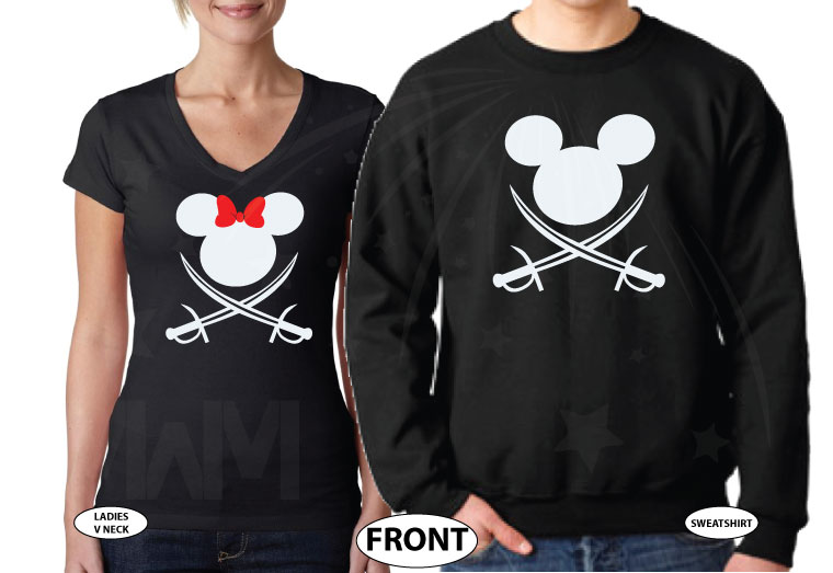 Mr and Mrs Cutest Matching Couple Shirts, Mickey and Minnie Pirates with Swords world's cutest matching couple shirts married with mickey black v neck and sweater