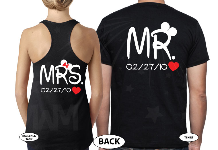 Mr and Mrs Cutest Matching Couple Shirts, Mickey and Minnie Pirates with Swords world's cutest matching couple shirts married with mickey black tank and tee