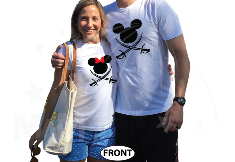 Mr and Mrs Cutest Matching Couple Shirts, Mickey and Minnie Pirates with Swords world's cutest matching couple shirts married with mickey white tshirts