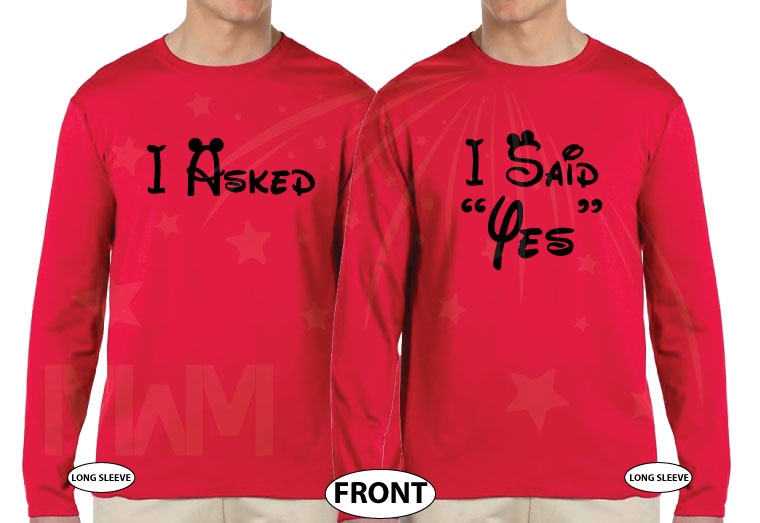 LGBT Gay Proposal Matching Couple Shirts, I asked, He Said Yes, I Said Yes, He Asked with Wedding Date, MarriedWithMickey cutest matching lgbt couple red long sleeve shirts