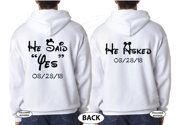 LGBT Gay Proposal Matching Couple Shirts, I asked, He Said Yes, I Said Yes, He Asked with Wedding Date, MarriedWithMickey cutest matching lgbt couple white hoodies