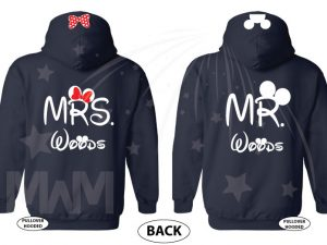 Mr and Mrs With Last Name, Minnie Mouse Cute Red Bow, Mickey Mouse Head, Wedding Date married with mickey cutest matching couple navy hoodies