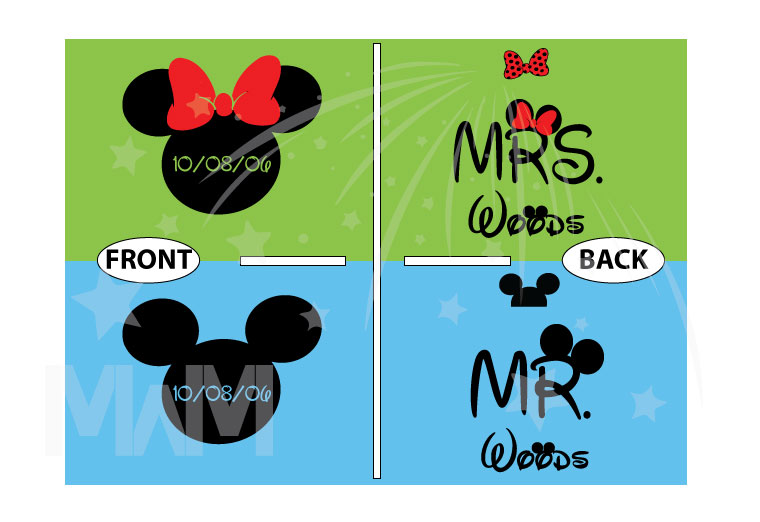 Mr and Mrs With Last Name, Minnie Mouse Cute Red Bow, Mickey Mouse Head, Wedding Date married with mickey cutest matching couple shrits