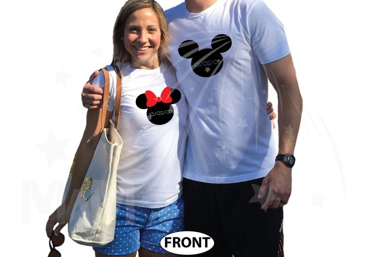 Mr and Mrs With Last Name, Minnie Mouse Cute Red Bow, Mickey Mouse Head, Wedding Date married with mickey cutest matching couple white tshirts