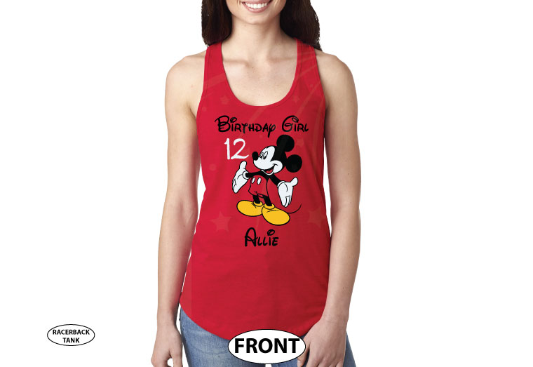 Birthday Boy (Girl), Mickey Mouse, Custom Name and Age, Adults and Kids sizes available married with mickey cutest red ladies tran ktop