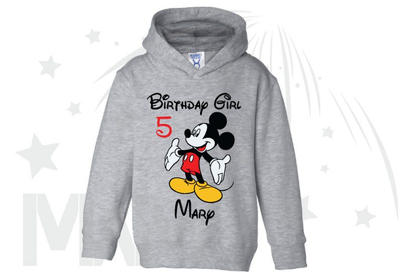 Birthday Boy (Girl), Mickey Mouse, Custom Name and Age, married with mickey toddler grey hoodie