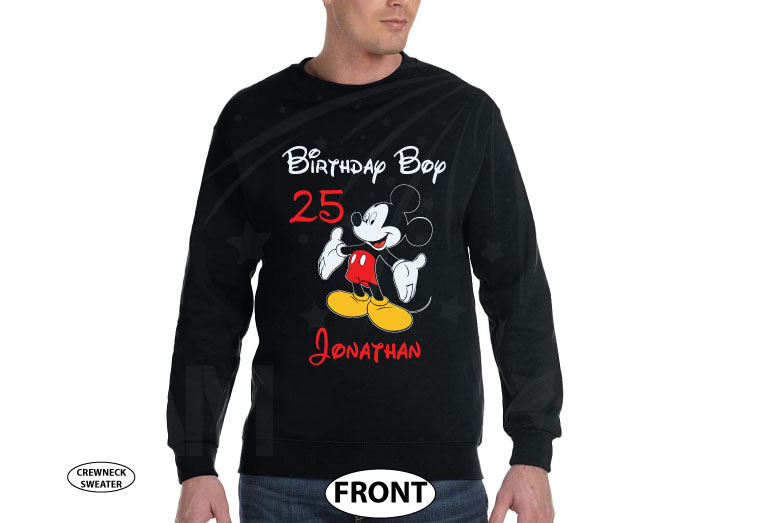 Birthday Boy (Girl), Mickey Mouse, Custom Name and Age, Adults and Kids sizes available married with mickey cutest black sweater