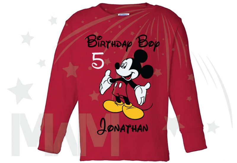 Birthday Boy (Girl), Mickey Mouse, Custom Name and Age, married with mickey toddler red long sleeve