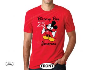 Birthday Boy (Girl), Mickey Mouse, Custom Name and Age, Adults and Kids sizes available married with mickey cutest mens red tshirt
