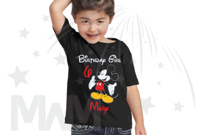 Birthday Boy (Girl), Mickey Mouse, Custom Name and Age, married with mickey toddler black tshirt