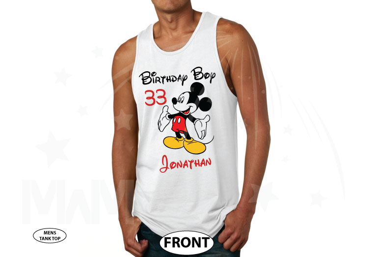 Birthday Boy (Girl), Mickey Mouse, Custom Name and Age, Adults and Kids sizes available married with mickey cutest mens tank top