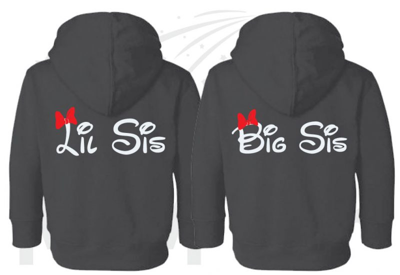 2 Toddler sizes Matching Family Siblings Shirts, Minnie Mouse Cute Red Bow, Lil Sis and Big Sis with Custom Names the world's cutest matching family apparel, black toddler pullover hoodies