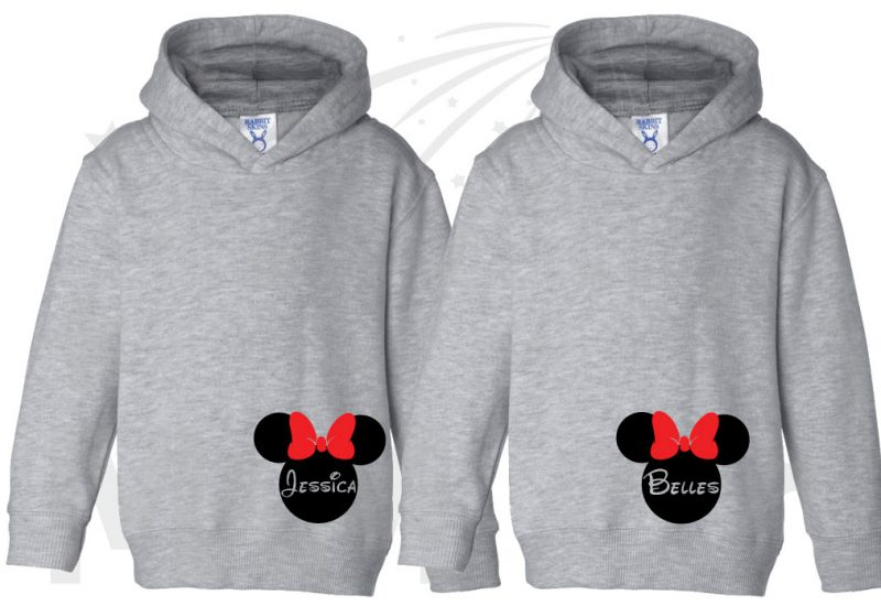 2 Toddler sizes Matching Family Siblings Shirts, Minnie Mouse Cute Red Bow, Lil Sis and Big Sis with Custom Names the world's cutest matching family apparel, grey toddler pullover hoodies