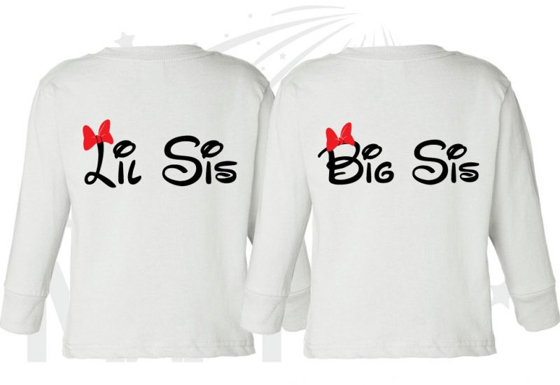 2 Toddler sizes Matching Family Siblings Shirts, Minnie Mouse Cute Red Bow, Lil Sis and Big Sis with Custom Names the world's cutest matching family apparel, white toddler long sleeves