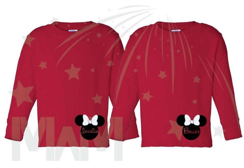 2 Toddler sizes Matching Family Siblings Shirts, Minnie Mouse Cute Red Bow, Lil Sis and Big Sis with Custom Names the world's cutest matching family apparel, red toddler long sleeves