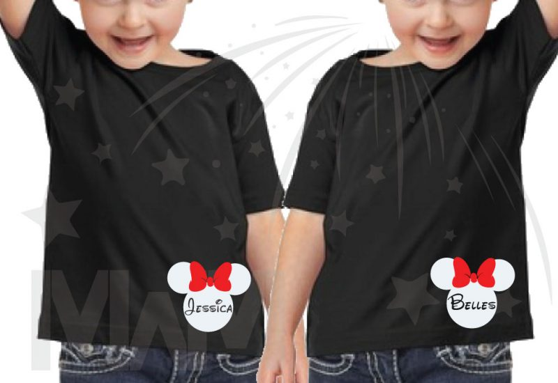 2 Toddler sizes Matching Family Siblings Shirts, Minnie Mouse Cute Red Bow, Lil Sis and Big Sis with Custom Names the world's cutest matching family apparel, black toddler t shirts