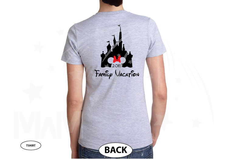 Aunt (Mom, Dad, ect) of the Birthday Girl (Boy), Cinderella Castle, Minnie Mouse Head With Cute Red Bow, Family Vacation 2018 married with mickey cutest grey ladies tshirt