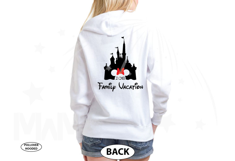 Aunt (Mom, Dad, ect) of the Birthday Girl (Boy), Cinderella Castle, Minnie Mouse Head With Cute Red Bow, Family Vacation 2018 married with mickey cutest white hoodie