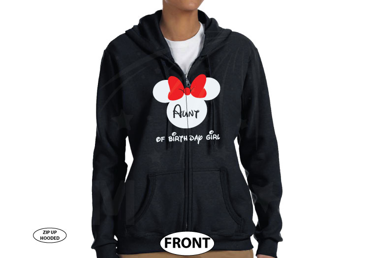 Aunt (Mom, Dad, ect) of the Birthday Girl (Boy), Cinderella Castle, Minnie Mouse Head With Cute Red Bow, Family Vacation 2018 married with mickey cutest black zip up hoodie