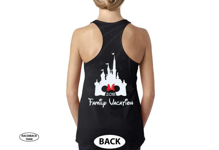 Aunt (Mom, Dad, ect) of the Birthday Girl (Boy), Cinderella Castle, Minnie Mouse Head With Cute Red Bow, Family Vacation 2018 married with mickey cutest black ladies tank top