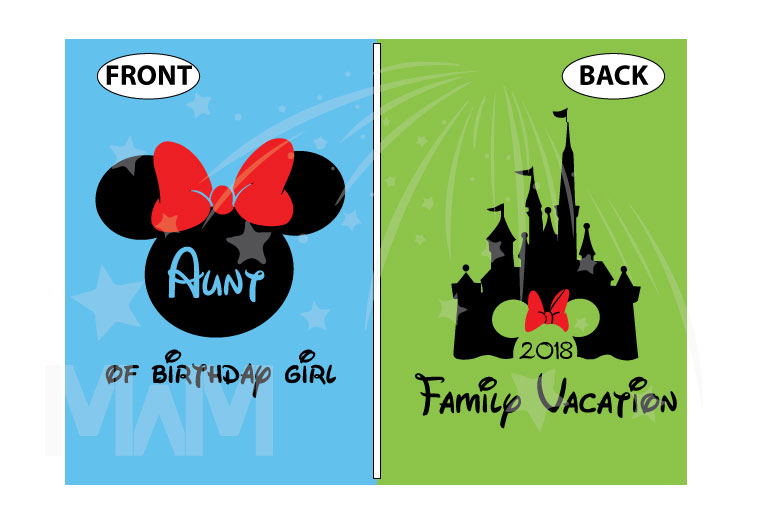Aunt (Mom, Dad, ect) of the Birthday Girl (Boy), Cinderella Castle, Minnie Mouse Head With Cute Red Bow, Family Vacation 2018 married with mickey cutest shirt
