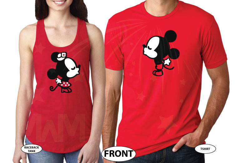 Celebrating Many Magical Years Together, Kissing Mickey Minnie Mouse, the world's cutest matching couple shirts, married with mickey, red tee and tank