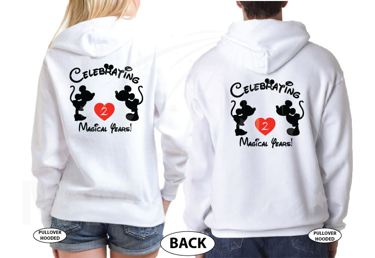 Celebrating Many Magical Years Together, Kissing Mickey Minnie Mouse, the world's cutest matching couple shirts, married with mickey, white hoodies