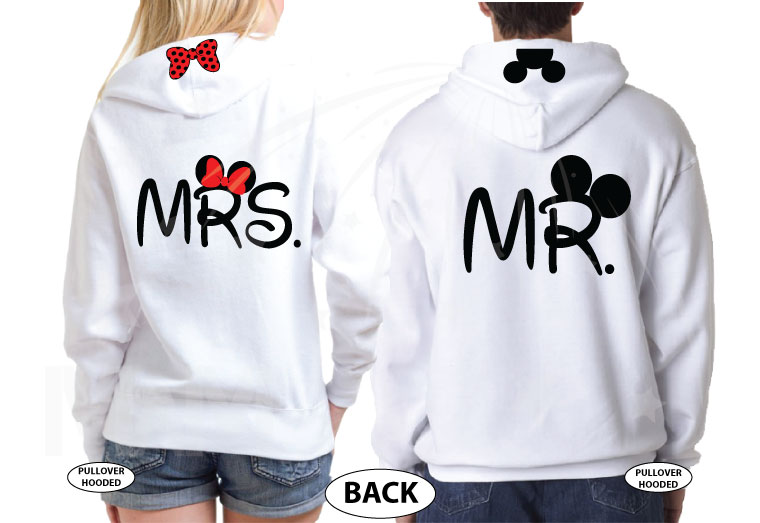 Mr and Mrs Matching Shirts, Mickey Head and Minnie Mouse Polka Dots Bow, Hands Heart Shaped, Married With Mickey the world's cutest matching couple white pullover hoodies