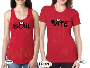 world's cutest lgbt lesbian matching couple shirts LGBT Lesbian Cute Shirts Soul Mate With Custom Date Kissing Minnie Mouse married with mickey white red ladies tank tops