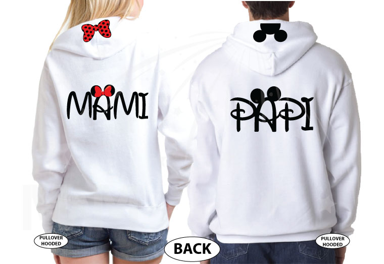 Disney Matching Family Shirts, Mami and Papi, Mickey Mouse Head, Minnie Mouse Cute Polk Dots Red Bow On Hood, Married With Mickey the world's cutest matching family mix shirts, pullover hoodies