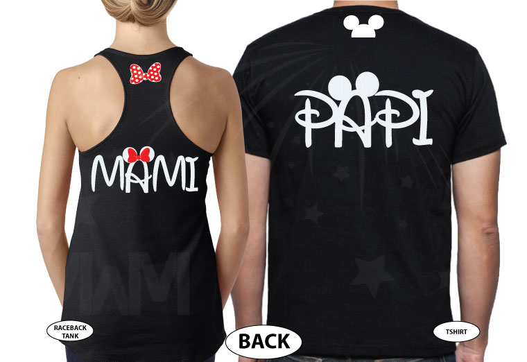 Disney Matching Family Shirts, Mami and Papi, Mickey Mouse Head, Minnie Mouse Cute Polk Dots Red Bow On Hood, Married With Mickey the world's cutest matching family mix shirts, tee and tank