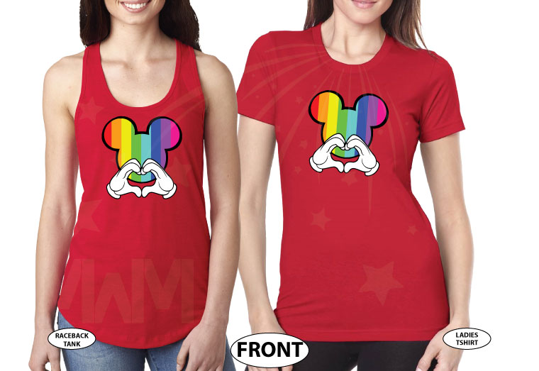 LGBT Lesbian I'm Hers, She's Mine, Mickey Mouse Pointing Hand, The Rainbow Mickey Head With Hands Forming Heart world's cutest matching logbt lesbian shirts, married with mickey red ladies t shirts