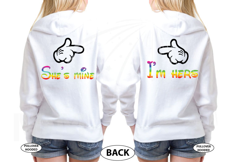 LGBT Lesbian I'm Hers, She's Mine, Mickey Mouse Pointing Hand, The Rainbow Mickey Head With Hands Forming Heart world's cutest matching logbt lesbian shirts, married with mickey white hoodies