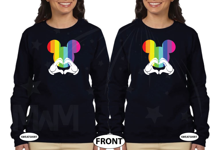 LGBT Lesbian I'm Hers, She's Mine, Mickey Mouse Pointing Hand, The Rainbow Mickey Head With Hands Forming Heart world's cutest matching logbt lesbian shirts, married with mickey black sweaters