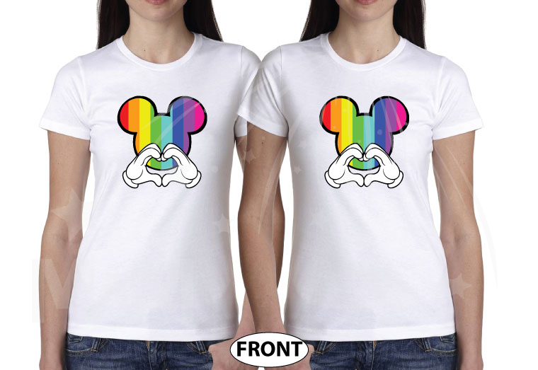 LGBT Lesbian I'm Hers, She's Mine, Mickey Mouse Pointing Hand, The Rainbow Mickey Head With Hands Forming Heart world's cutest matching logbt lesbian shirts, married with mickey white ladies t shirts