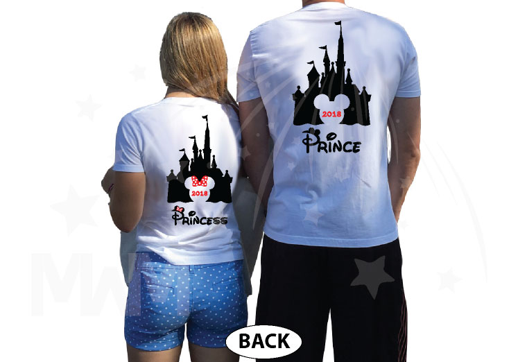 Matching Couple Shirts, Cinderella Castle, Prince and Princess, Mickey and Minnie Mouse Head with Castle and Names, married with mickey, the world's cutest matching couple white t shirts