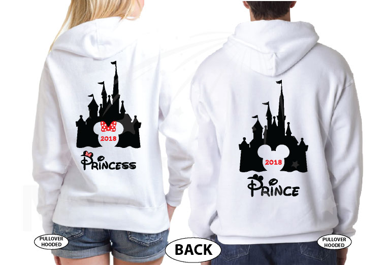 Matching Couple Shirts, Cinderella Castle, Prince and Princess, Mickey and Minnie Mouse Head with Castle and Names, married with mickey, the world's cutest matching couple white hoodies