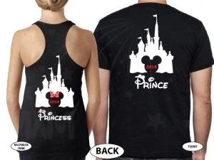 Matching Couple Shirts, Cinderella Castle, Prince and Princess, Mickey and Minnie Mouse Head with Castle and Names, married with mickey, the world's cutest matching couple black tee and tank