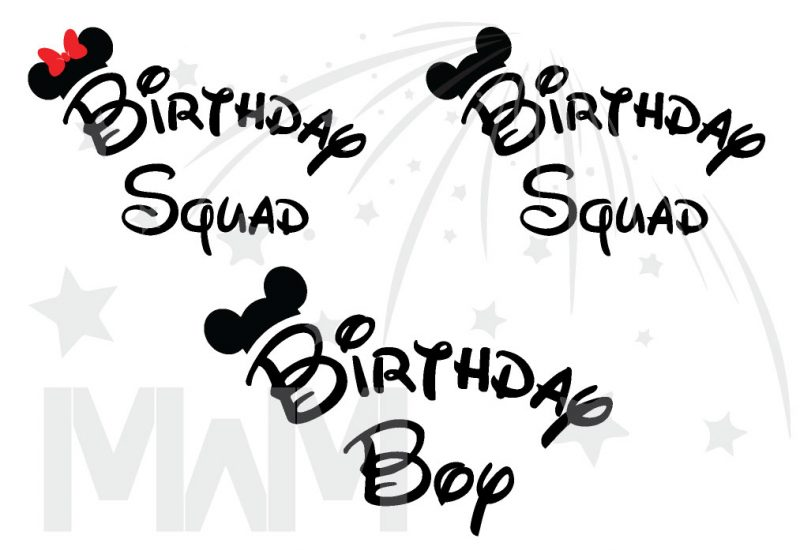Matching Family Birthday Party Shirts, Birthday Squad Mickey Mouse Ears, Birthday Boy, Minnie Mouse Ears married with mickey